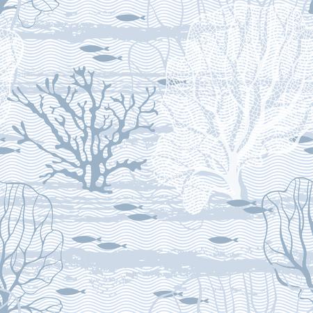 algae cartoon: Undersea world. Seamless pattern with sea plants and fish. Illustration