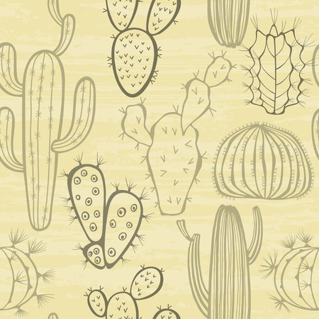 flower thorns: Monochrome seamless pattern with cactus.
