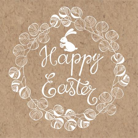tarjeta de Pascua feliz. ilustración vectorial dibujado a mano en el fondo kraft. Ilustración de vector