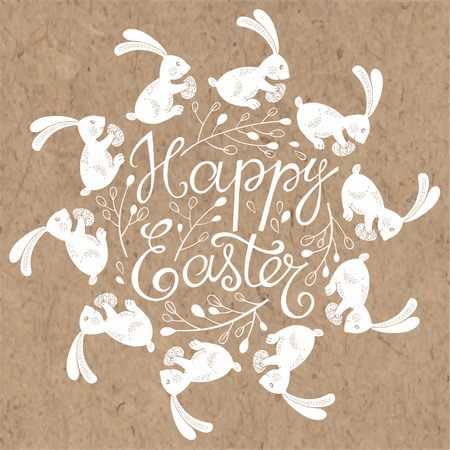 kraft: Happy easter card. Hand-drawn vector illustration with cute Easter bunnies on kraft background.