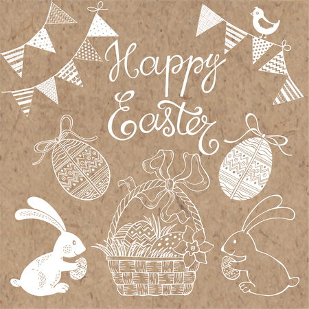 cartoon easter basket: Happy Easter. Isolated design elements. Festive vector set on kraft paper. Illustration
