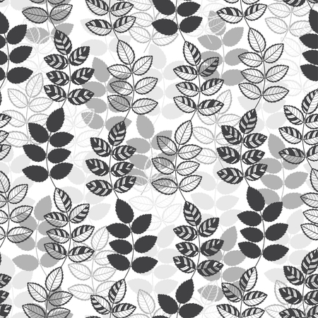 handdrawn: Seamless monochrome pattern with hand-drawn abstract leaves. Illustration