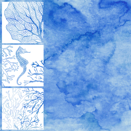 Vector illustration on the marine theme with space for text on a blue watercolor background. Hand-drawn vector background with marine plants and seahorses.