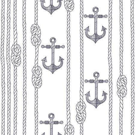 ancre marine: Seamless avec corde marine, des n?uds et des ancres sur un fond blanc. Illustration