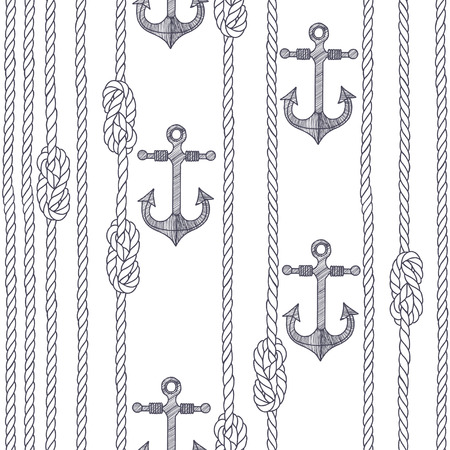 hand knot: Seamless pattern with marine rope, knots and anchors on a white background.