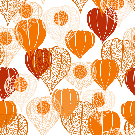 winter cherry: Seamless pattern with physalis. Abstract floral background. Illustration