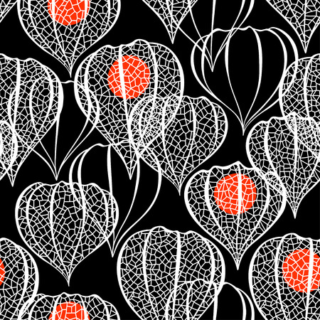 winter cherry: Seamless pattern with physalis on black background.