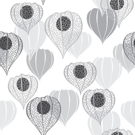 winter cherry: Monochrome seamless pattern with physalis. Abstract floral background.