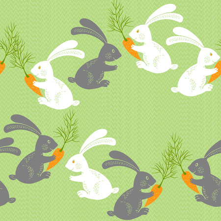 lapin blanc: Rabbits with carrots. Seamless vector pattern. Animal background with cute cartoon bunnies.