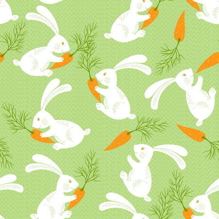 cute wallpaper: White rabbits with carrots. Seamless vector pattern. Animal background with cute cartoon bunnies. Illustration