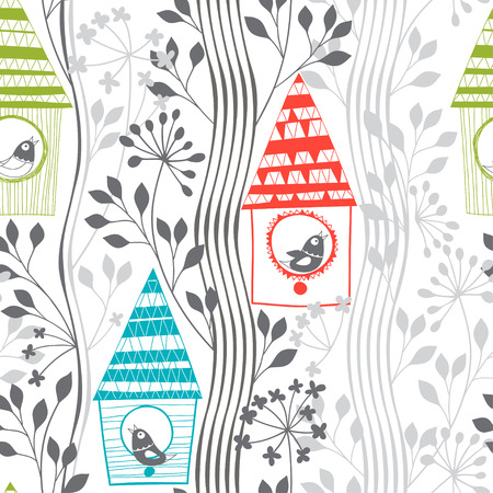 flowering: Spring seamless pattern with birds, flowering trees and birdhouses.