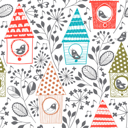 floral elements: Spring seamless pattern with birds, floral and birdhouses.