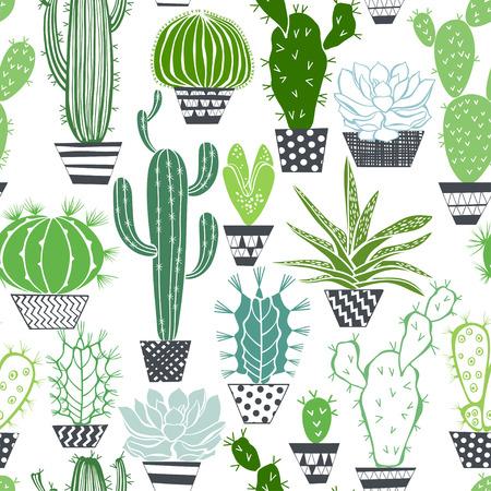 サボテンと多肉植物のシームレスなパターン。  イラスト・ベクター素材