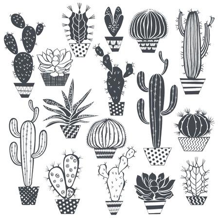 선인장과 다육 식물 흰색 배경에 고립입니다. 벡터, 손으로 그린 일련의 그림입니다.