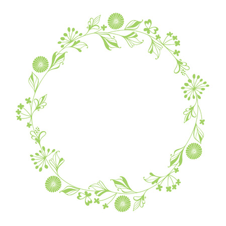 hand outline: Vector round wreath with floral elements. Illustration with place for text, can be used creating card or invitation card.