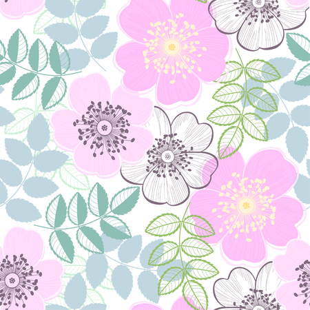 Nahtlose Muster mit einer Dogrose, abstrakte floralen Hintergrund.