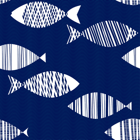 Seamless pattern with cartoon fishes. Hand drawn vector illustration on the texture background ..