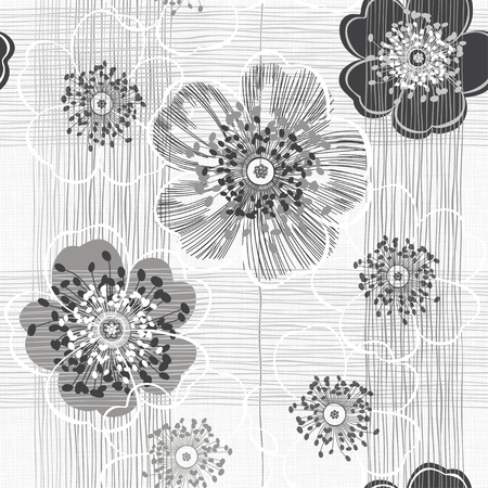 Monochrome seamless pattern of abstract flowers. Hand-drawn floral background. Ilustração