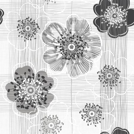 Monocromo patrón transparente de flores abstractas. Fondo floral a mano.