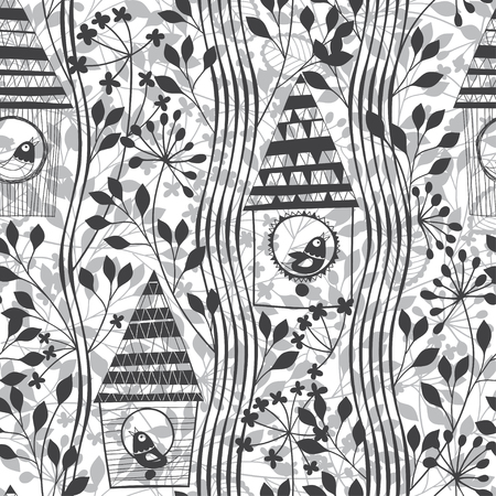flowering: Monochrome seamless pattern with birds, birdhouses and flowering trees. Cartoon cute vector background.