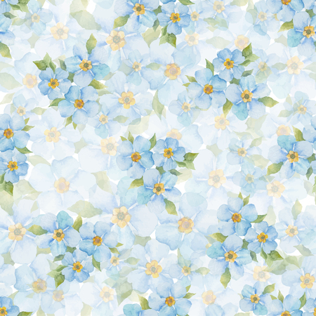 forget me not: Forget me not vector seamless pattern. Watercolor hand drawn background.