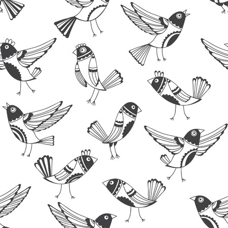 flies: Black and white seamless pattern with cartoon birds. Vector doodle background with cute hand-drawn birds. Illustration