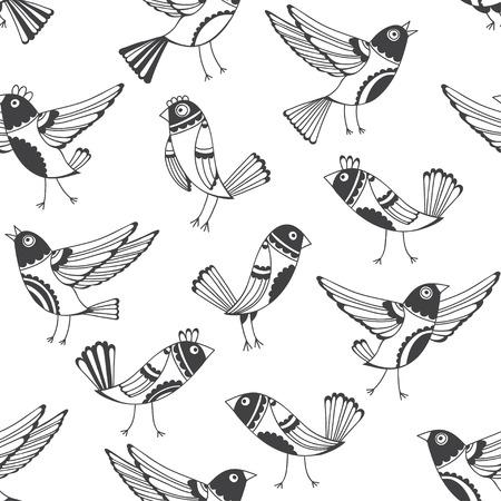 jungle animals: Modelo incons�til blanco y negro con los p�jaros de la historieta. Vector dibujo de fondo con los p�jaros lindos dibujados a mano. Vectores