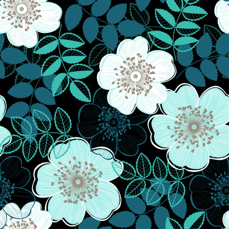 Seamless vector pattern with a dogrose.