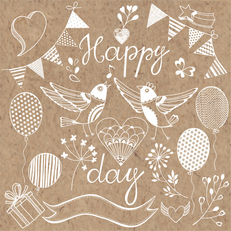 bunting: Happy day.Festive vector set. Isolated design elements for invitations, greeting cards, flyers.