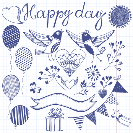 sun set: Happy day.Festive vector set. Isolated design elements for invitations, greeting cards, flyers.