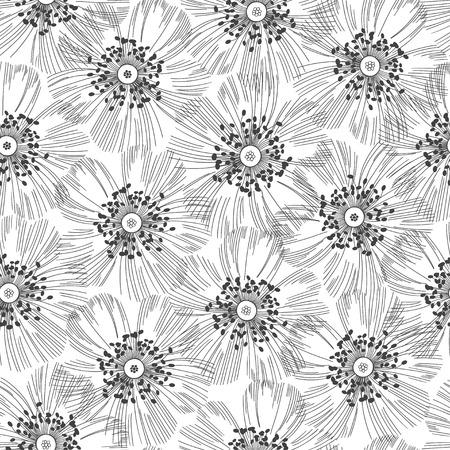 dessin fleur: Monochrome seamless pattern de fleurs abstraites. Hand-drawn fond floral.