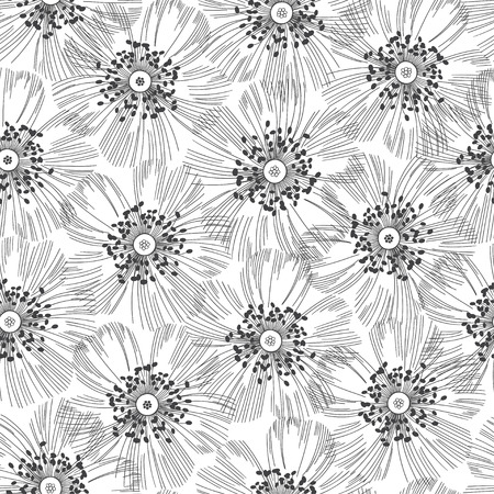 Monochrome seamless pattern of abstract flowers. Hand-drawn floral background. Illustration
