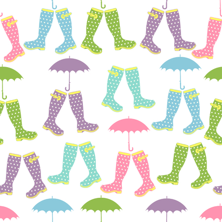 rubber boots: Seamless pattern with colored rubber boots and umbrellas. Vector illustration. Spring background.