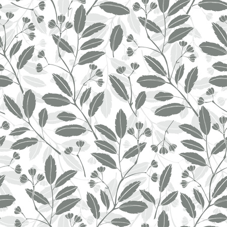 Abstract floral background. Seamless monochrome pattern with hand drawn branches. Vector illustration.