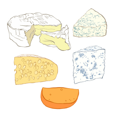 Cheese collection, objects isolated on white background. Hand drawn vector illustration, sketch. Elements for design. Иллюстрация