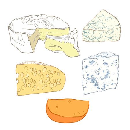 collection de fromages, des objets isolés sur fond blanc. Main vecteur illustration tirée, croquis. Elements for design. Vecteurs