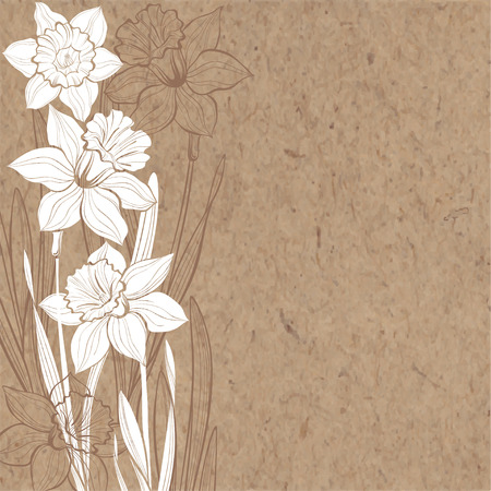 Hand-drawn vector background with spring flowers daffodils and space for text on kraft paper.