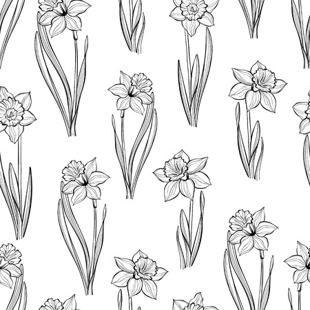 Seamless pattern with daffodils. Hand-drawn black-white vector illustration.
