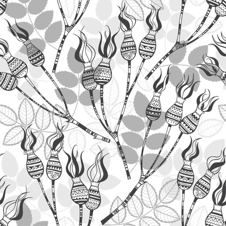 dog rose: Seamless pattern with dog rose berries. Stylish vector illustration.