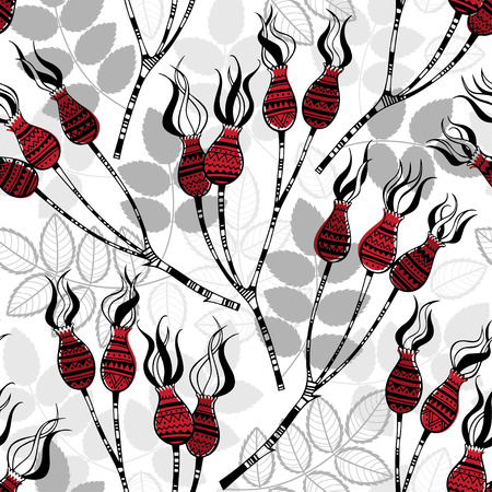 red flower: Seamless pattern with dog rose berries. Stylish vector illustration.