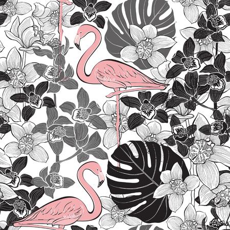 熱帯植物の背景にピンクのフラミンゴとのシームレスなパターン。ベクターの手描きイラスト。  イラスト・ベクター素材