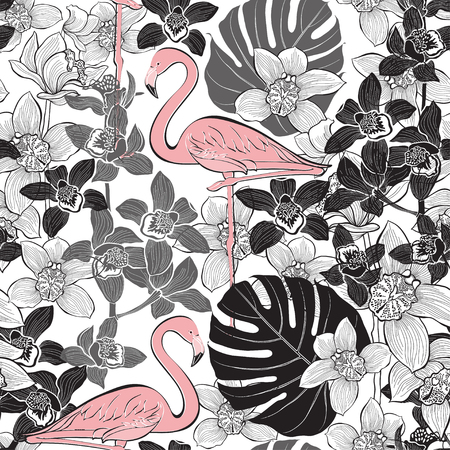 Seamless pattern with pink flamingo on the background of tropical plants. Hand-drawn vector illustration.