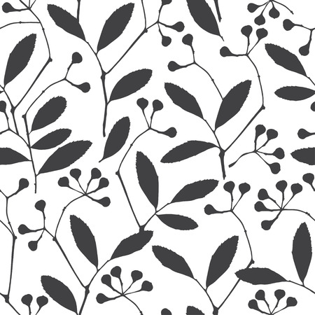 flower designs: Abstract floral background. Seamless monochrome pattern with hand drawn branches. Vector illustration.