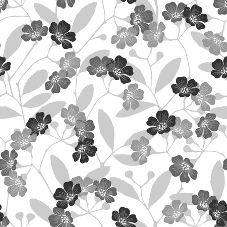 flowering: Seamless monochrome pattern with flowering trees. Monochrome vector hand-drawn illustration.