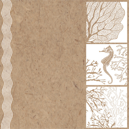 retro cartoon: Hand-drawn vector background with marine plants and seahorses with space for text on kraft paper.