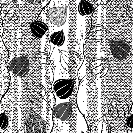 winter cherry: Black and white seamless pattern with branches physalis on the texture background. Abstract floral background.