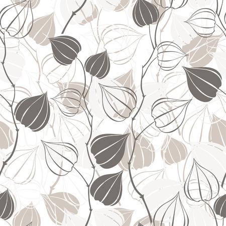 Modèle sans couture avec branches physalis. Floral abstrait.