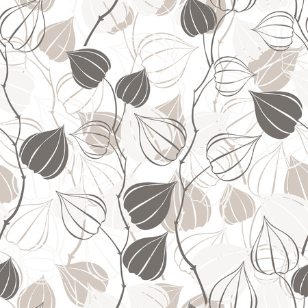 winter cherry: Seamless pattern with branches physalis. Abstract floral background. Illustration