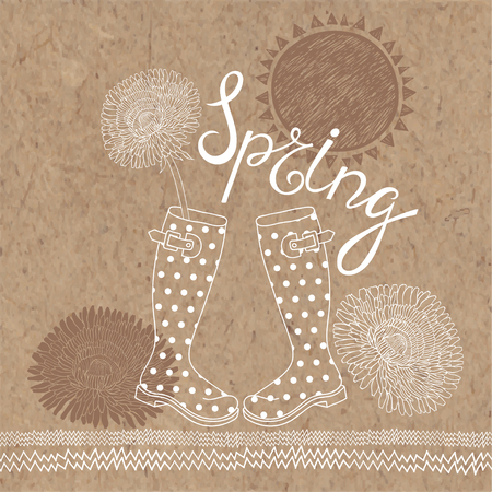 kraft paper: Spring set. Hand-drawn vector illustration on kraft paper background. Maybe greeting card, invitation or elements of your design. Illustration