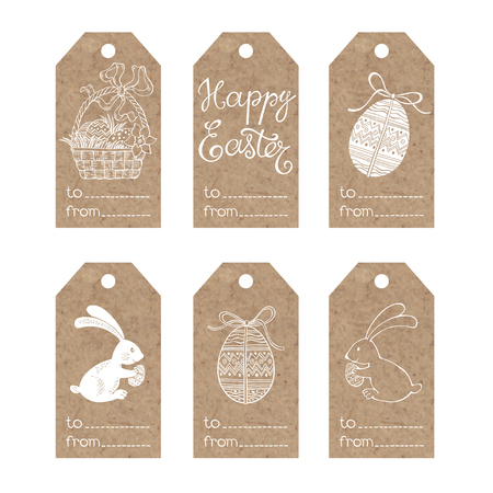 kraft paper: Collection of kraft paper tags with Easter motifs.